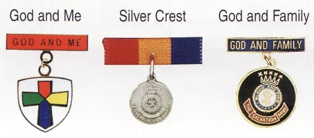Gid and Me, Silver Crest,& God and Family medals
