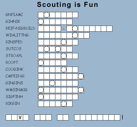 from http://www.boyscouttrail.com/jokes.asp click on Cub Scouts, then ...