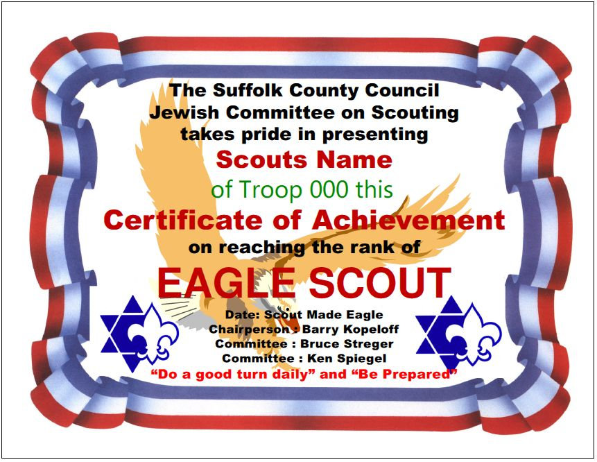 Special eagle scout recognitions suffolk county jewish committee on scouting certificate of recognition yadclub Choice Image